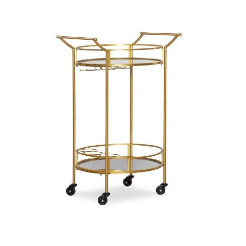 Round Metal Bar Cart Gold - Linon - image 1 of 7