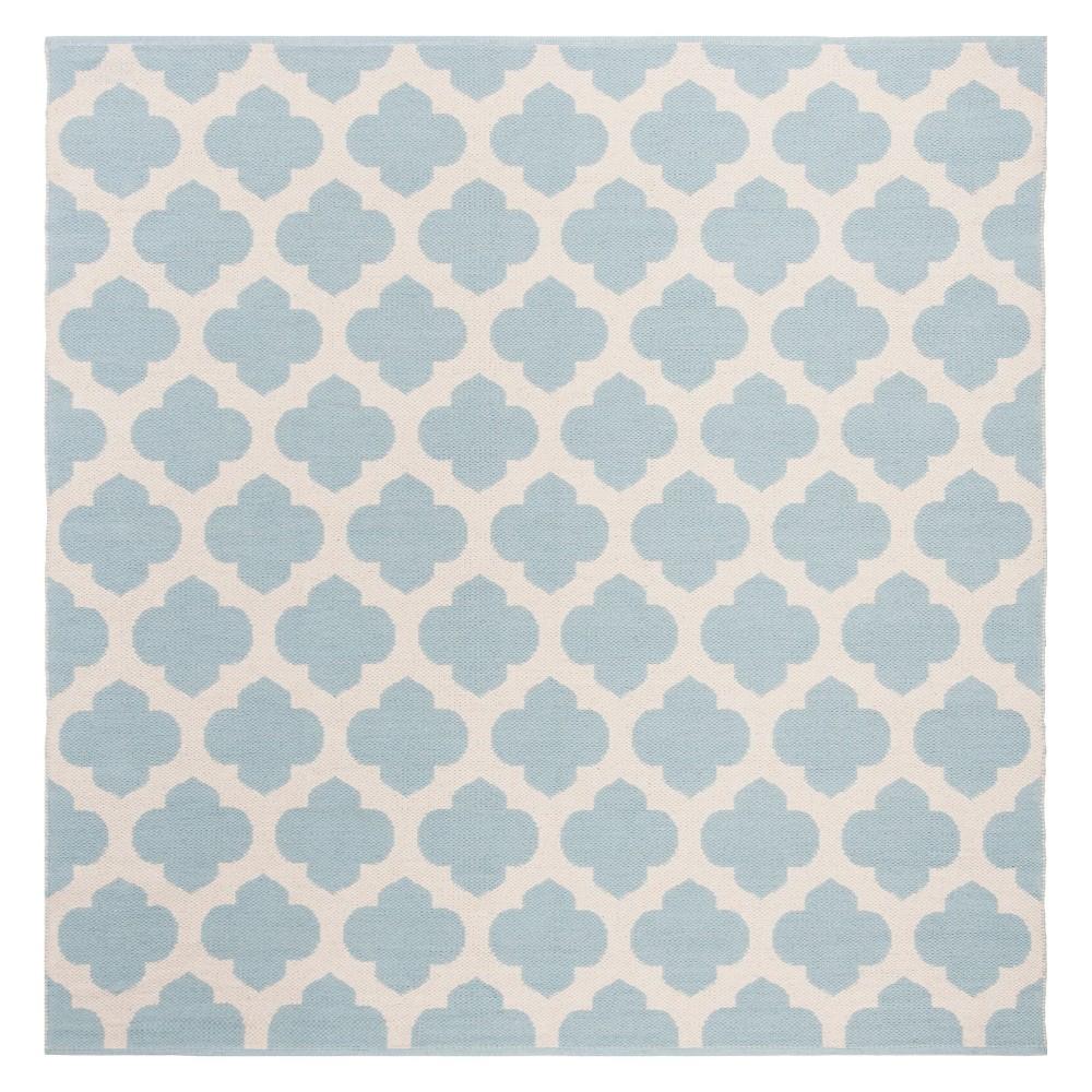 6'X6' Quatrefoil Design Woven Square Area Rug Light Blue/Ivory - Safavieh