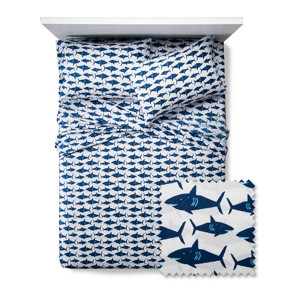 Great White Sharks Get-Together Sheet Set - Pillowfort, Blue White