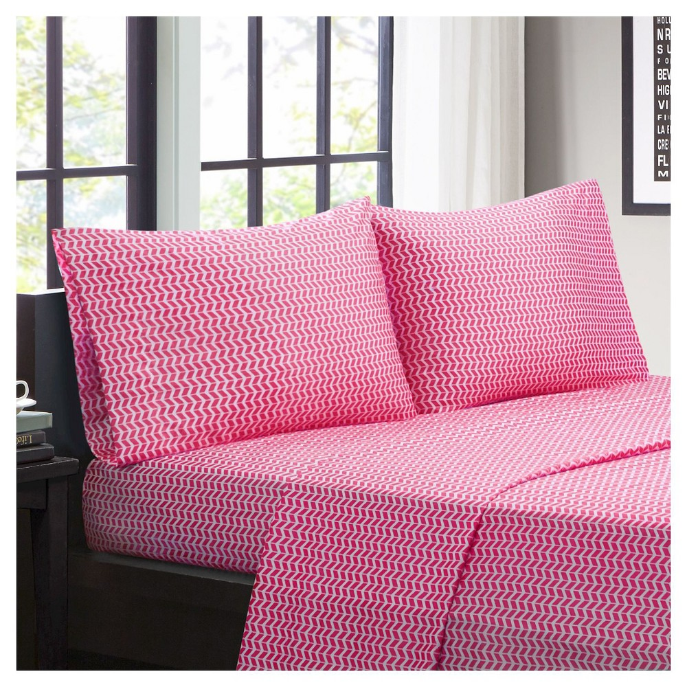 Chevron Microfiber Sheet Set - Pink (Queen)
