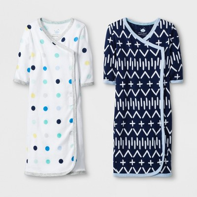 Baby Boys' 2pk Dot Gown Set - Cloud Island™ White/Blue Preemie