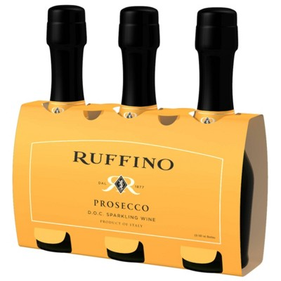 Ruffino Prosecco DOC Italian White Sparkling Wine - 3pk/187ml Bottles