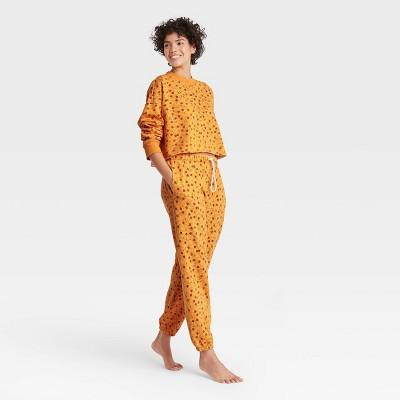 Women's Floral Fold-Over Fleece Lounge Jogger Pants - Colsie™ Yellow