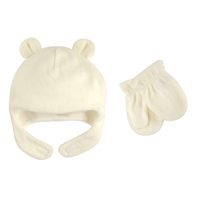 Luvable Friends Toddler Beary Cozy Hat and Mitten Set 2pc, Cream