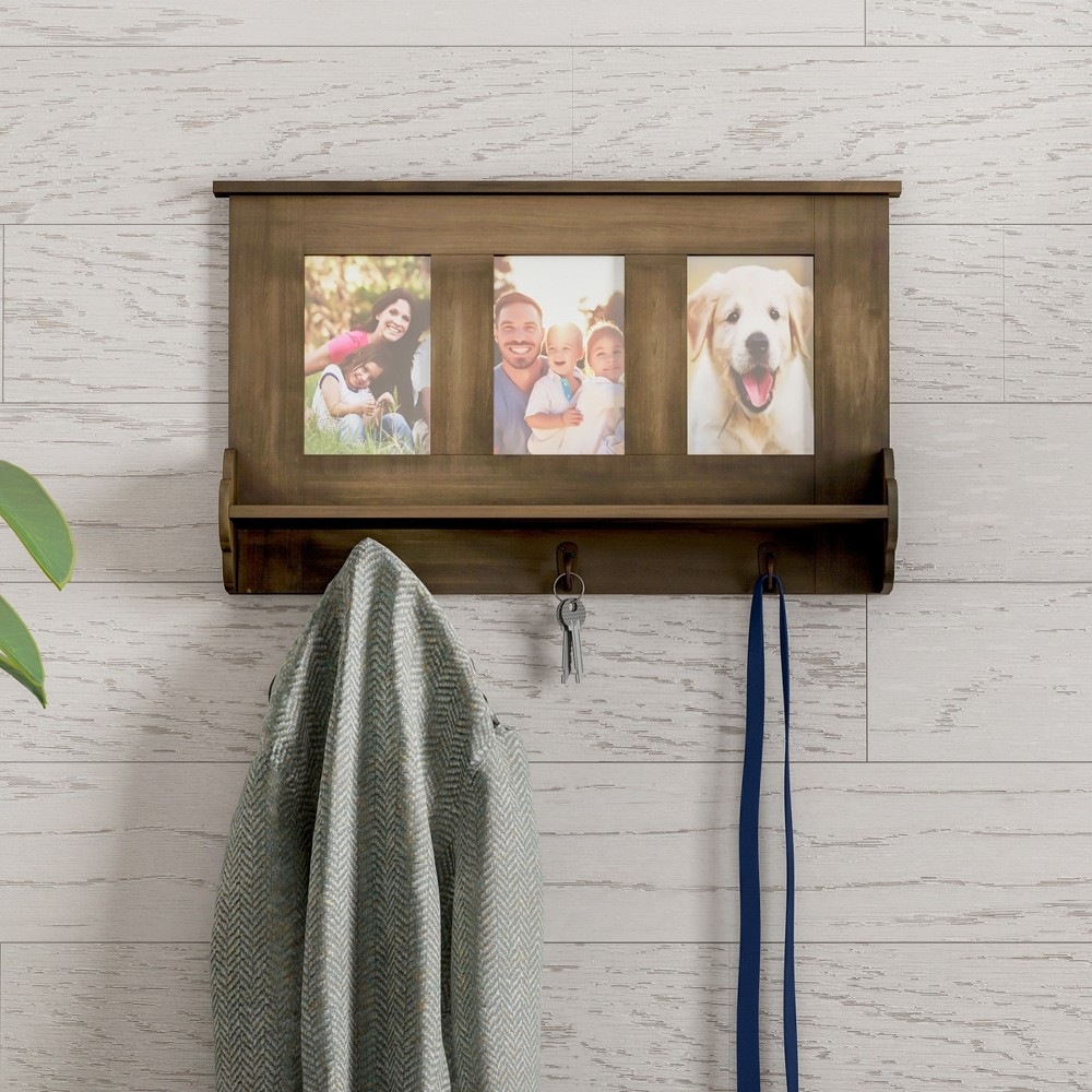 Wall Shelf/Picture Collage With Ledge And Hooks Brown - Lavish Home