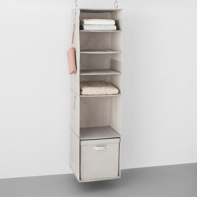 6 Shelf Hanging Fabric Storage Organizer Light Gray   Made By Design™ :  Target