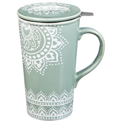 Evergreen Flag Double Wall Ceramic Cup w/ Infuser & Lid, 12 OZ., Tea Lace