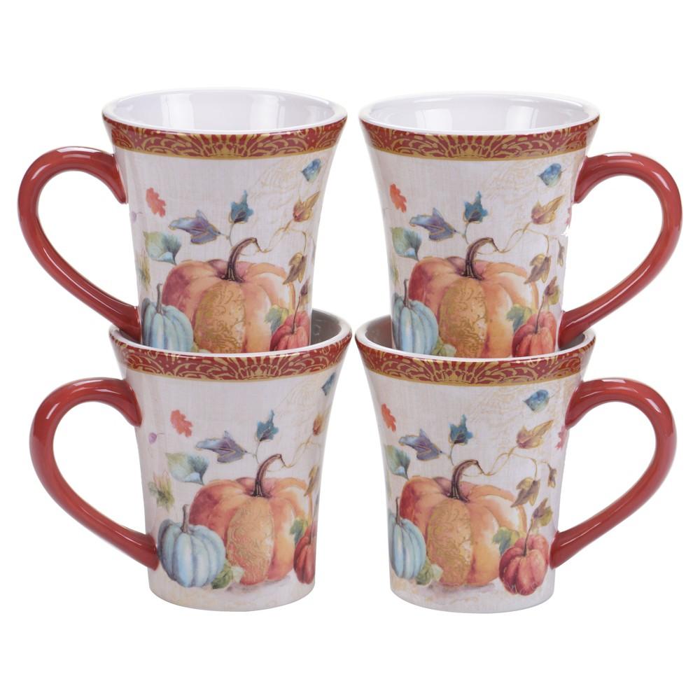 Certified International My Fall Inspiration Ceramic Mugs 16oz Orange - Set of 4