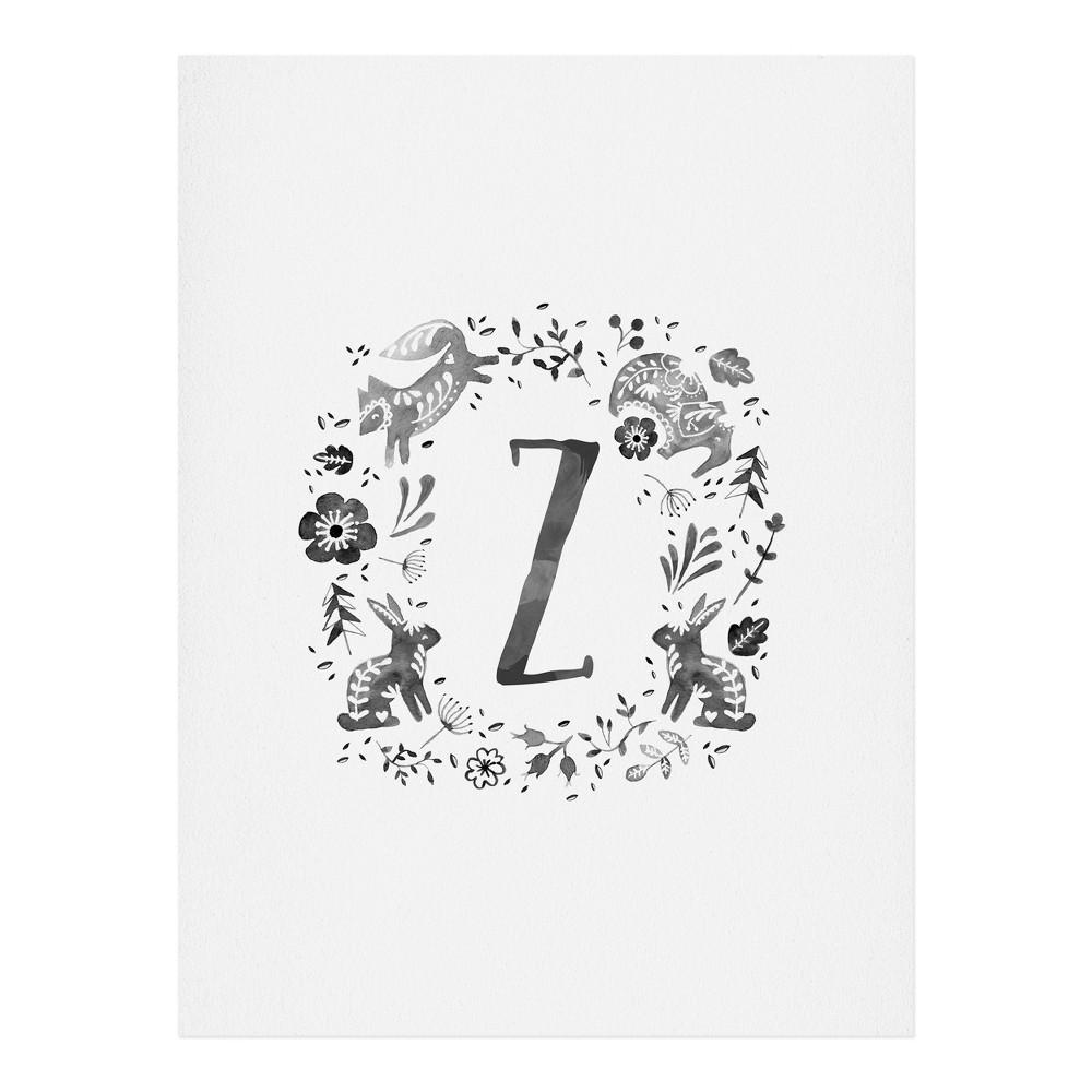 "Image of ""11""""x14"""" Wonder Forest Folky Forest Monogram Letter """"Z"""" Art Print Unframed Wall Poster Gray - Deny Designs"""