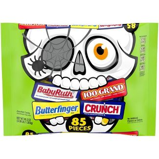 Butterfinger, Baby Ruth, Crunch, & 100 Grand Halloween Chocolate Assorted Bag - 49.3oz/85ct