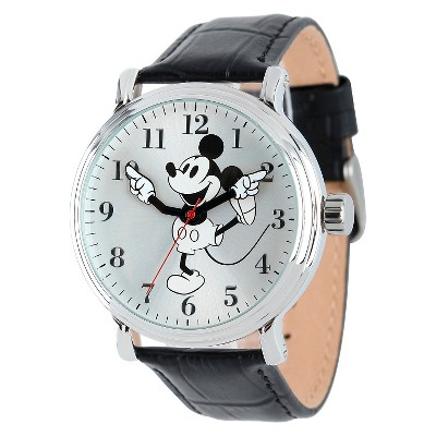 Men's Disney Mickey Mouse Shinny Silver Vintage Articulating Watch with Alloy Case - Black