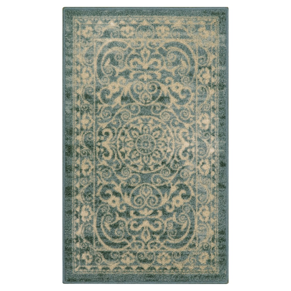 Scroll Tufted Accent Rug Green