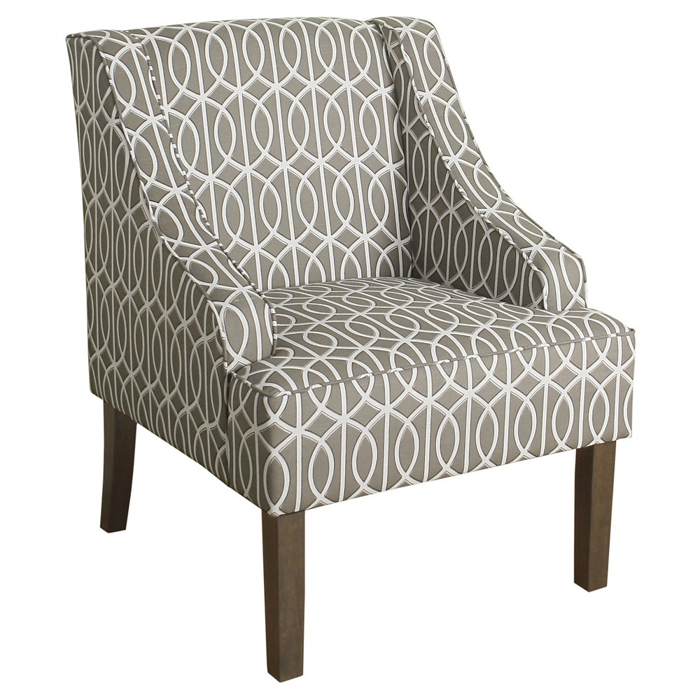Finley Swoop Arm Accent Chair - Brindle Gray- HomePop, Gray
