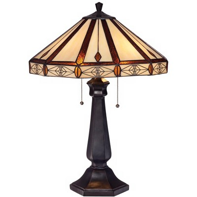 Robert Louis Tiffany Mission Table Lamp Bronze Octagonal Art Glass Shade for Living Room Family Bedroom Bedside Nightstand Office