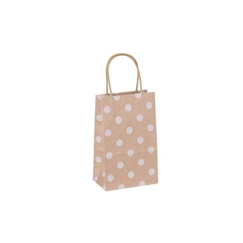 Small Solid Natural with White Polka Dots Gift Bag - Spritz™ - image 1 of 2