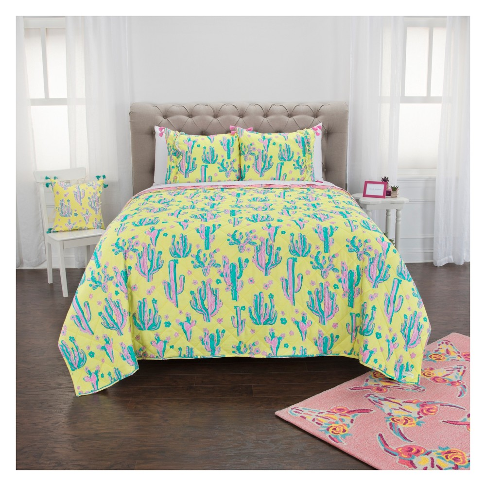 Queen Cow Skull/ Cactus Quilt Set Yellow - Simply Southern, Pink