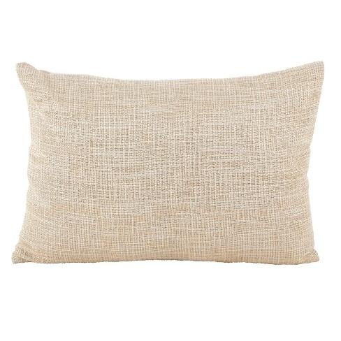 """14""""x20"""" Down Filled Woven Metallic Pillow Gold - Saro Lifestyle - image 1 of 3"""