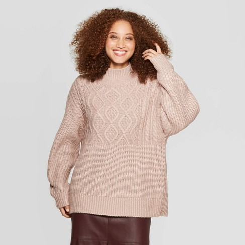 Women's Long Sleeve Mock Turtleneck Pullover Sweater - A New Day™ - image 1 of 3