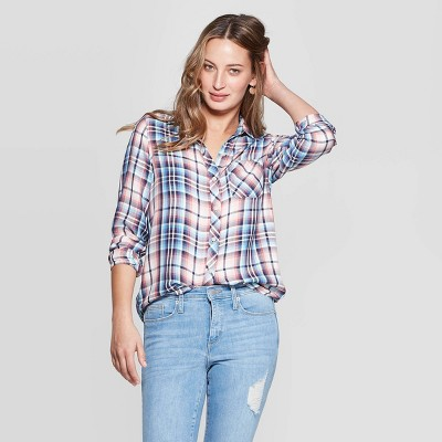 Women's Long Sleeve Collared Plaid Button Down Shirt Universal Thread by Down Shirt Universal Thread