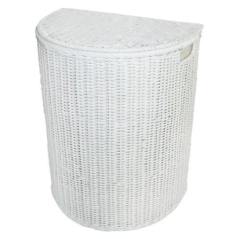 Lined Rattan Hamper White Pillowfort