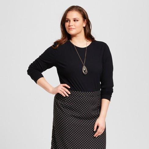 Women's Plus Size Long Sleeve Bodysuit - Who What Wear™ - Black X - image 1 of 3