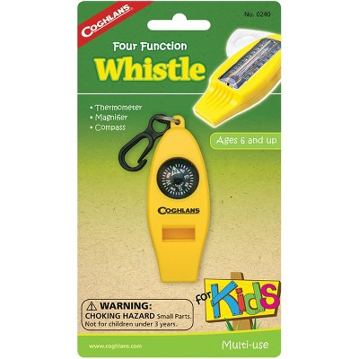 Coghlan's Four Function Whistle for Kids Camp Thermometer, Magnifier, Compass