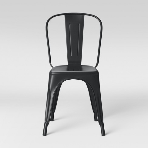 Metal Dining Chair Matte Black