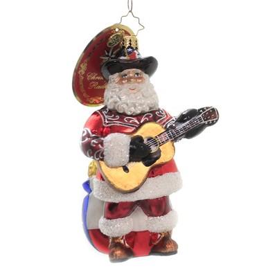 "Christopher Radko 6.0"" Boot Scootin Santa Ornament Texas Flag Guitar  -  Tree Ornaments"