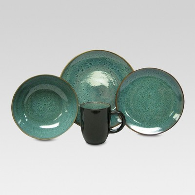 Belmont Stoneware 16pc Dinnerware Set Green - Threshold™