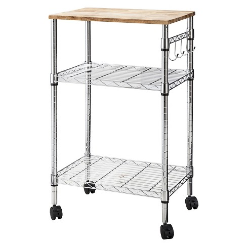 Microwave Cart with Wood Block Top Metal/Chrome - Room Essentials™