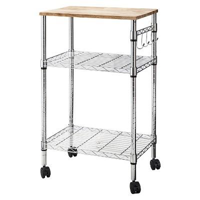 Bon Microwave Cart With Wood Block Top Metal/Chrome   Room Essentials™ : Target