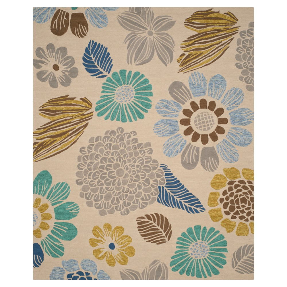Gray Botanical Hooked Area Rug - (8'X10') - Safavieh