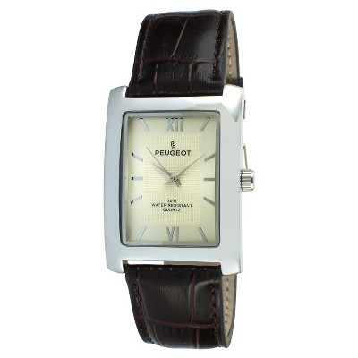 Men's Peugeot Rectangular Leather Strap Watch - Brown