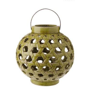 "Raz Imports 10.25"" Tea Garden Caladium Leaf Green Glazed Terracotta Crackled Decorative Pillar Candle Lantern"