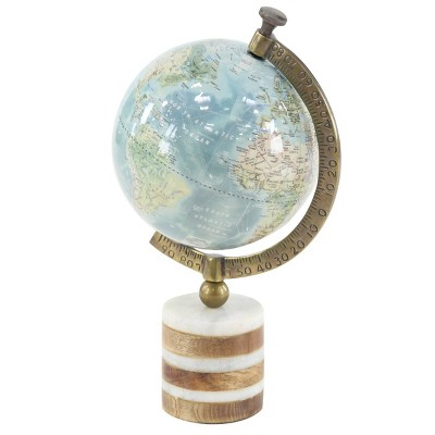 """16"""" x 9"""" Geographic Globe with Wood and Marble Base Blue/Green - Olivia & May"""