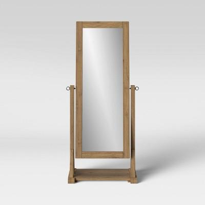 Litchfield Farmhouse Wood Floor Mirror Wheat - Threshold™