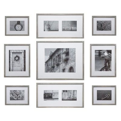 Gallery Perfect 11  x 14 ||8  x 10 ||5  x 7  (9pc)Wood Photo Wall Gallery Kit with Deco Frame Set Gray