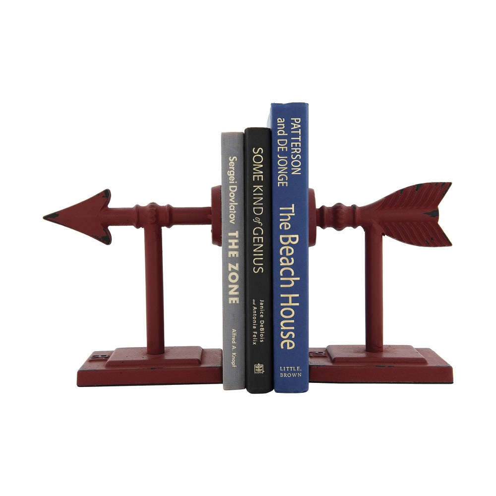 "Image of ""6.5"""" x 3.5"""" 2pc Metal Arrow Bookend Set Red - 3R Studios"""