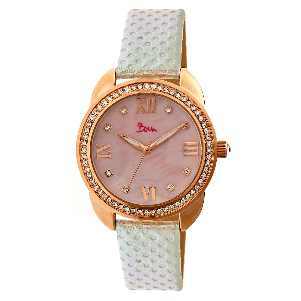 Women's Boum Forte Watch With Mother-of-Pearl Dial and Chameleon Color Changing Genuine Leather Strap-Rose Gold/Pink