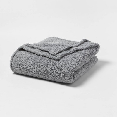 Full/Queen Sherpa Bed Blanket Gray - Room Essentials™