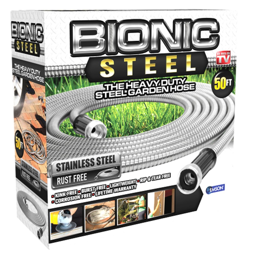 As Seen on TV 50' Bionic Steel Garden Hose, Silver