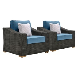 La-Z-Boy Outdoor New Boston 2pc Wicker Outdoor Lounge Chair with with Sunbrella Spectrum Denim Cushion