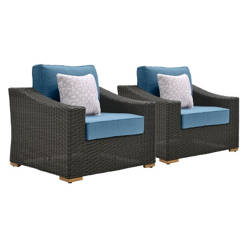 Wondrous La Z Boy Outdoor New Boston 2Pc Wicker Outdoor Lounge Chair With With Sunbrella Spectrum Denim Cushion Ocoug Best Dining Table And Chair Ideas Images Ocougorg