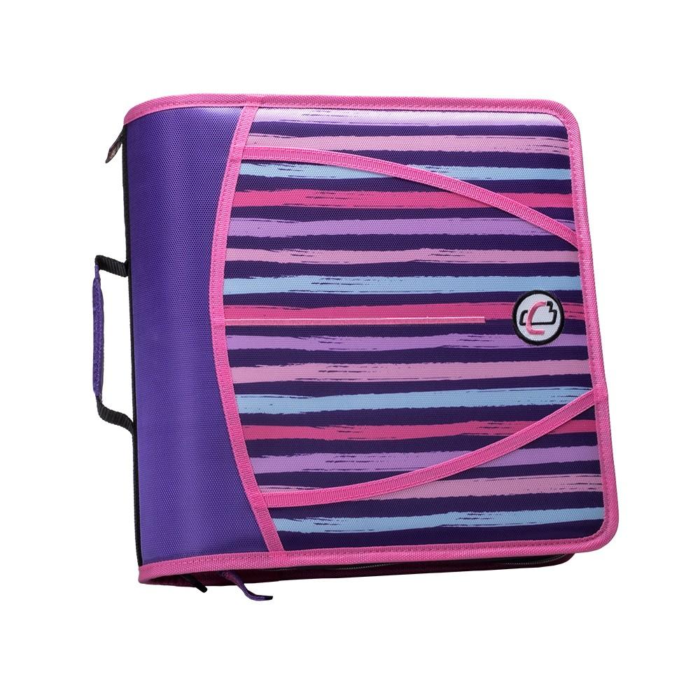 3 Ring Zipper Binder Purple Striped - Case-it