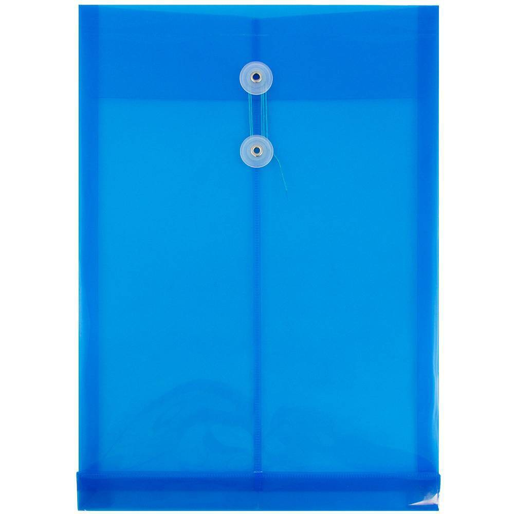 Jam Paper 9 3/4'' x 14 1/2'' 12pk Plastic Envelopes with Button and String Tie Closure, Legal Open End - Blue