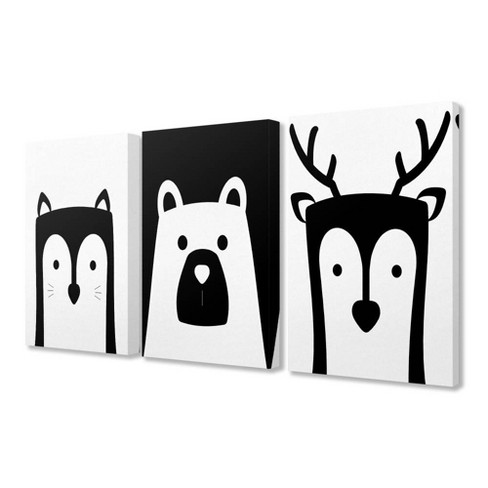 """3pc 16""""x1.5""""x20"""" Be Wild Black and White Animals Stretched Canvas Art Set - Stupell Industries - image 1 of 1"""