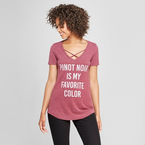 Women's Short Sleeve Pinot Noir is my Favorite Color Graphic T-Shirt - Awake Burgundy - image 1 of 2