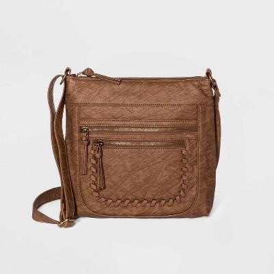 Bueno Zip Closure Crossbody Bag - Light Brown