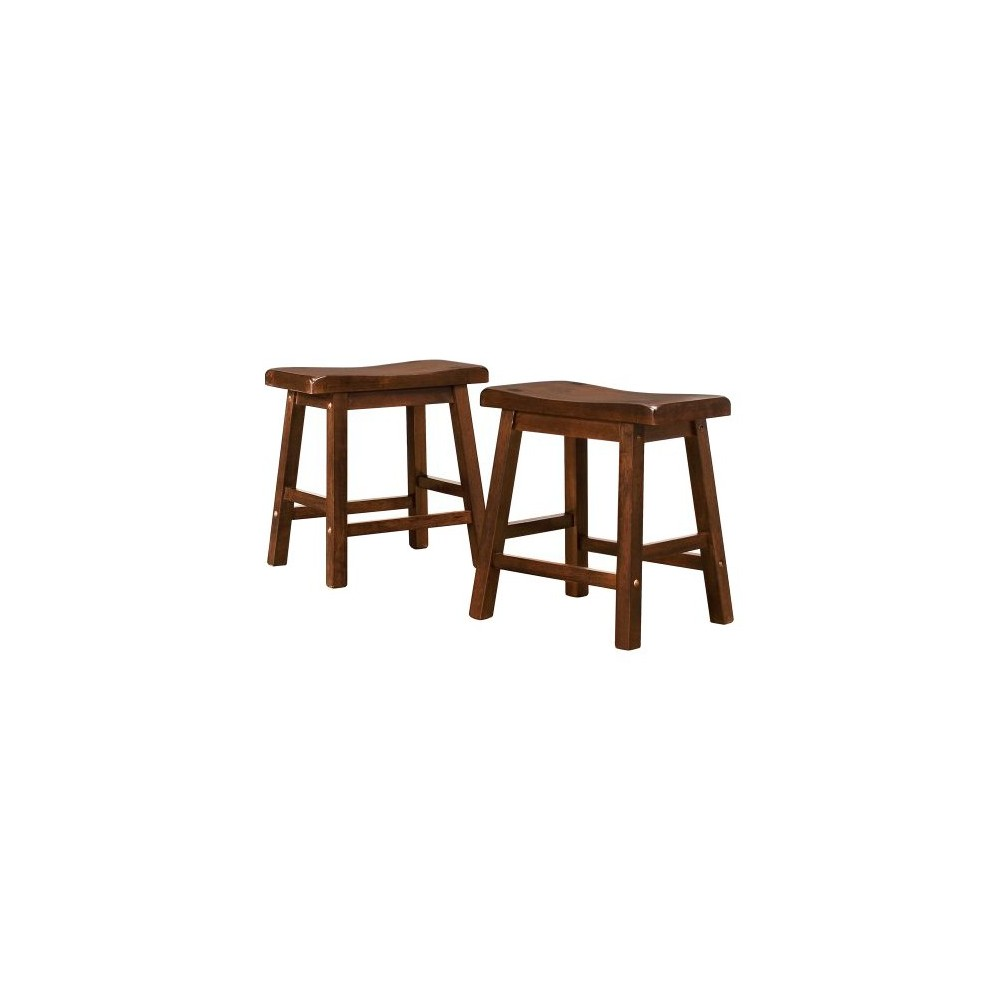 "Image of ""18"""" Set of 2 Scoop Stools Cherry - Inspire Q, Size: 18"""" Stool, Red"""