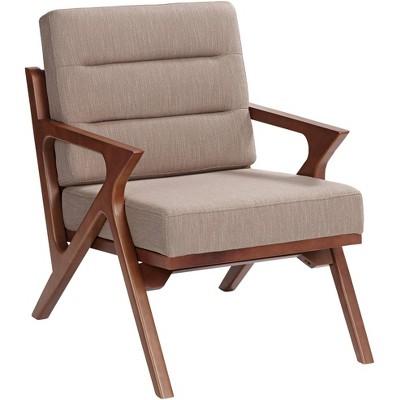 Studio 55D Moderno Walnut and Light Brown Modern Accent Chair